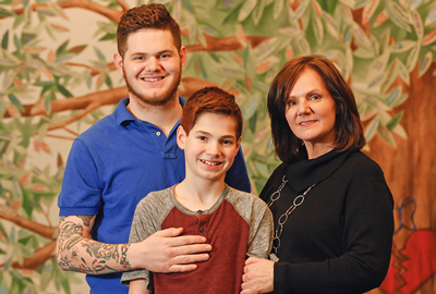 Beth Beglinger and her two sons, Troy and Dominick, at the Highmark Caring Place