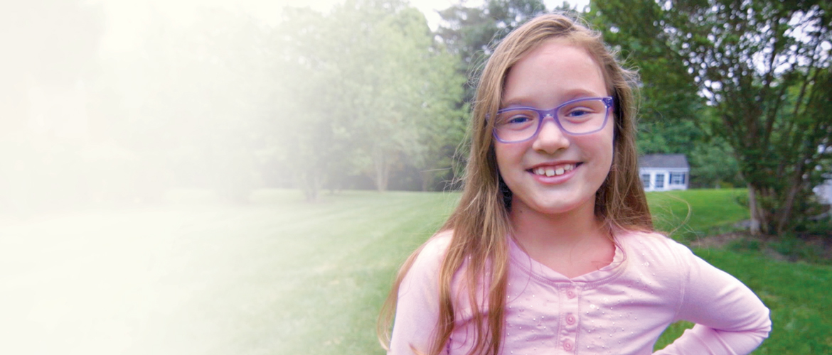 Nine-year-old Rachel Kessler wearing glasses