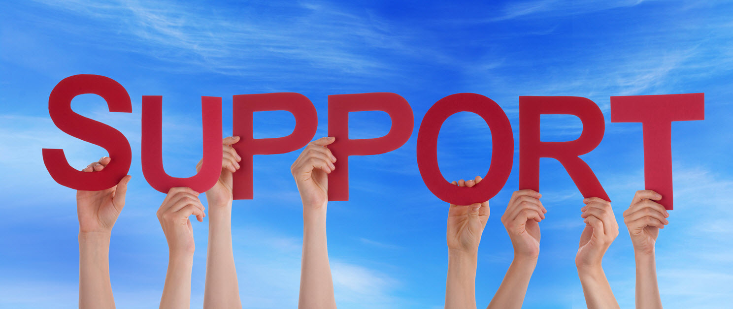 "Hands holding up letters to spell the word ""support"""