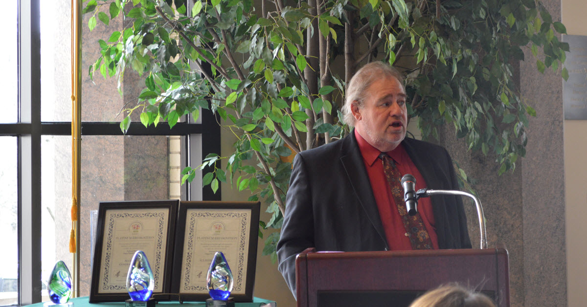 Kidney transplant recipient Jerry Jacovetty speaks at a Donate Life Month event in 2018 at Allegheny General Hospital